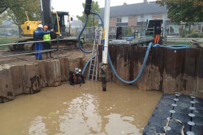 Betonstort bouwkuip rioolgemaal Vroomshoop